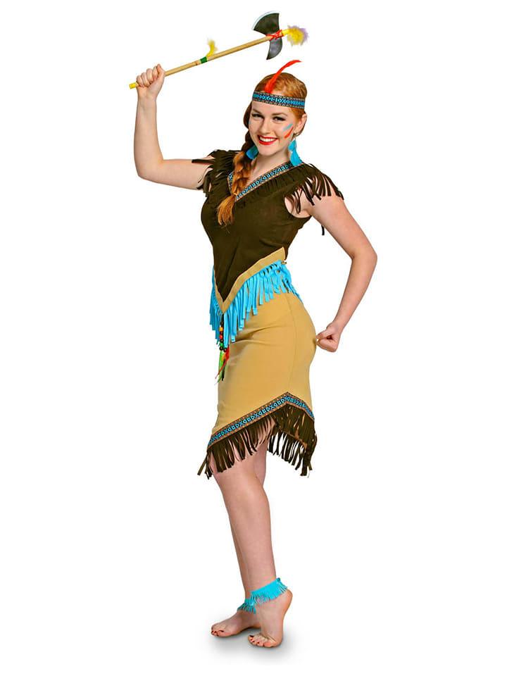 FOLAT 2tlg. Kostüm Indianerin in Braun - 55%   Größe S   Faschingskostueme