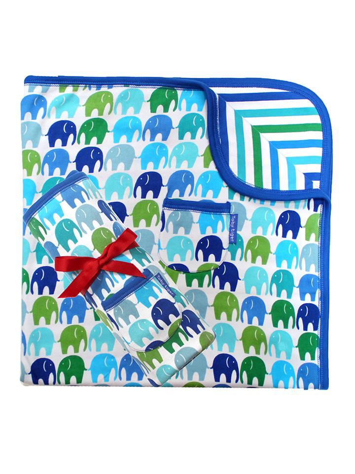Toby Tiger Wende-Decke in blau - (B)70 x (L)70 ...