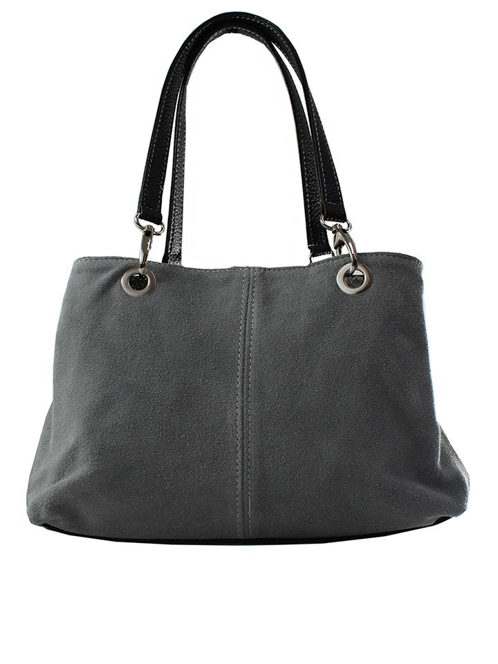 ROBERTA ROSSI Leder-Schultertasche in Grau - (B)32 x (H)20 (T)15 cm 60% | Damen taschen jetztbilligerkaufen