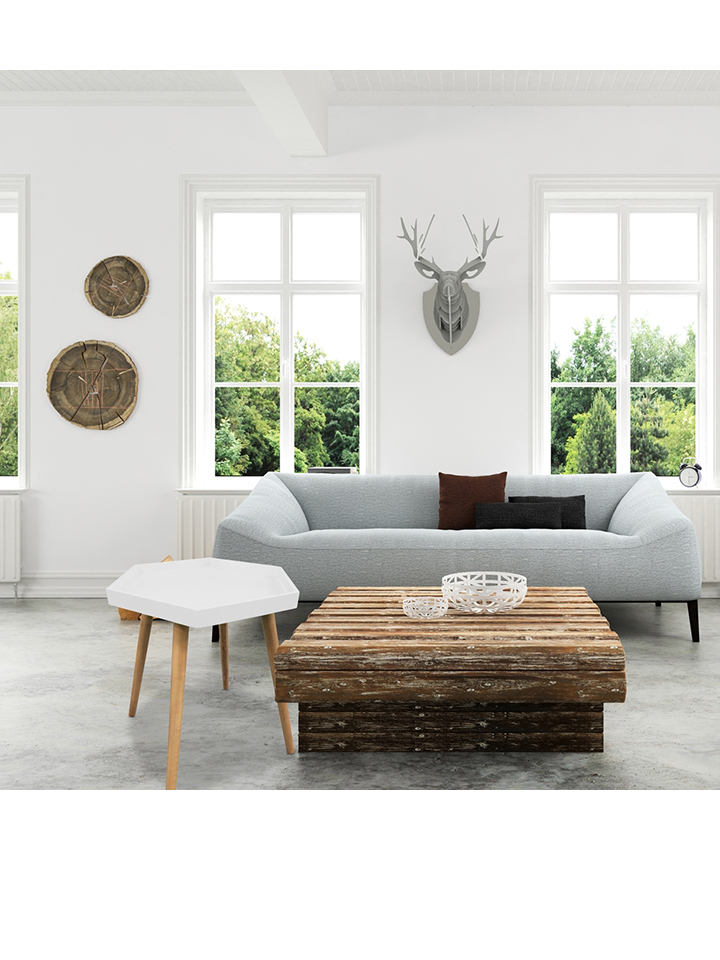 THE HOME DECO FACTORY Beistelltisch in weiß - (H)49,5 x Ø 50 cm -59% | Tische Sale Angebote Terpe