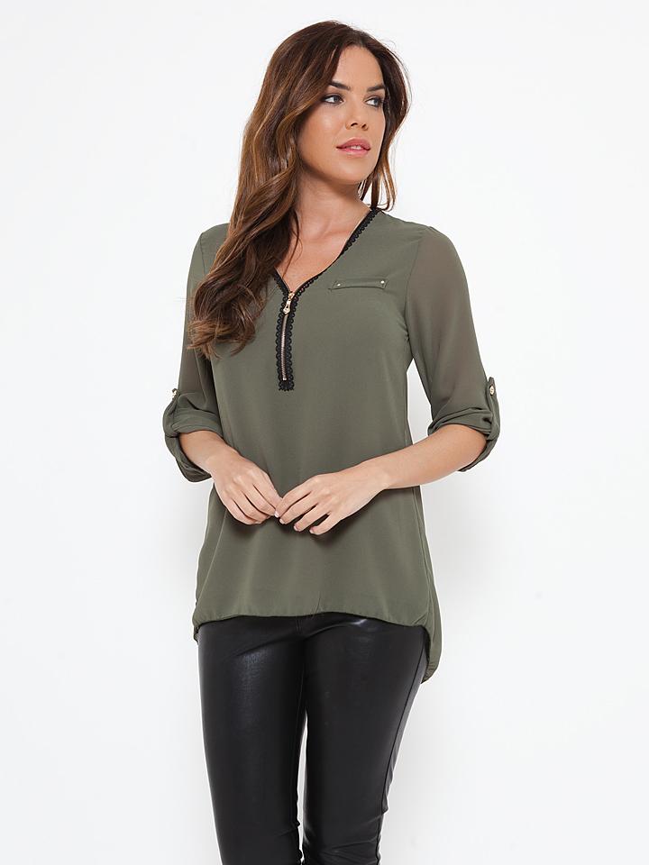 She´s Secret Shirt ´´Audrey´´ in Khaki -65%   Größe S Langarm Tops Sale Angebote Hohenbocka