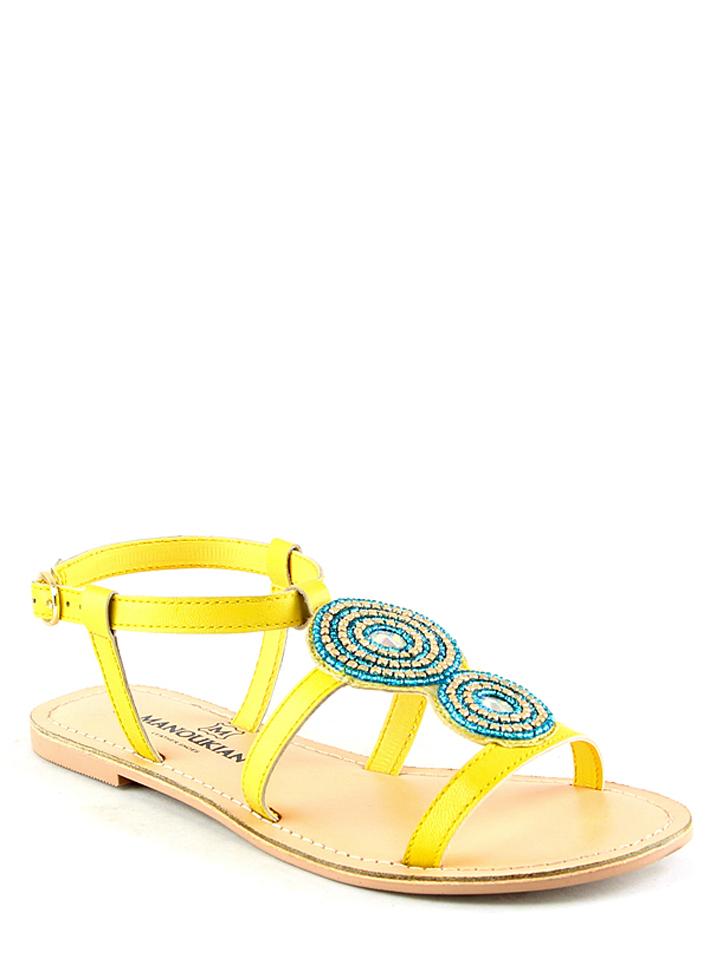 Manoukian Leder-Sandalen in Gelb -61% | Größe 38 Sandaletten Sale Angebote Horka