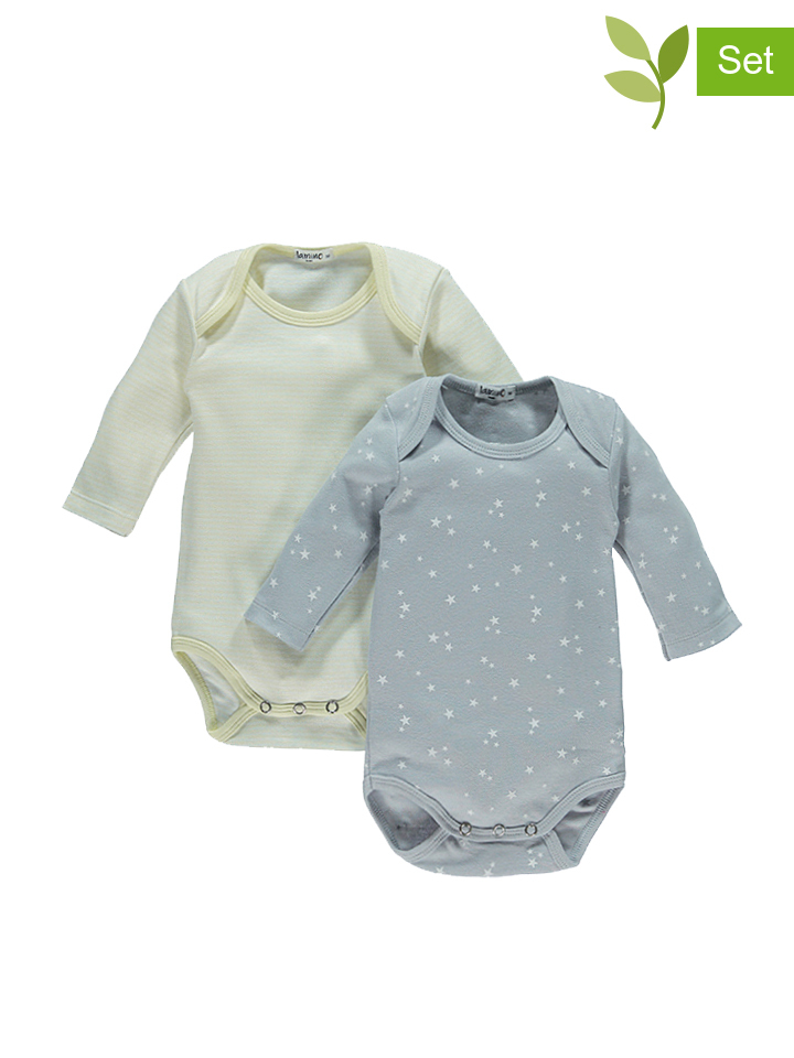 Schmogrow-Fehrow Angebote Lamino 2er-Set: Bodys in Grau - 38%   Größe 98 Baby bodys