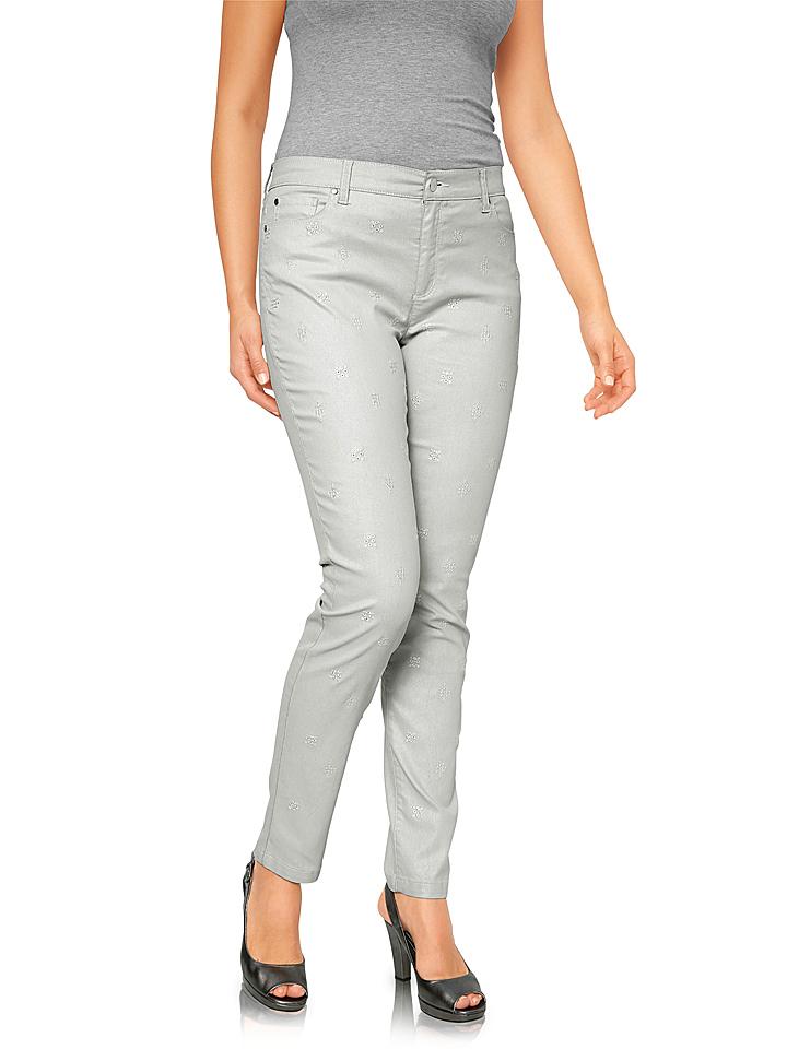 Linea TESINI by heine Jeans - Regular Rise in Hellgrau 64% | Größe 44 Damenjeans