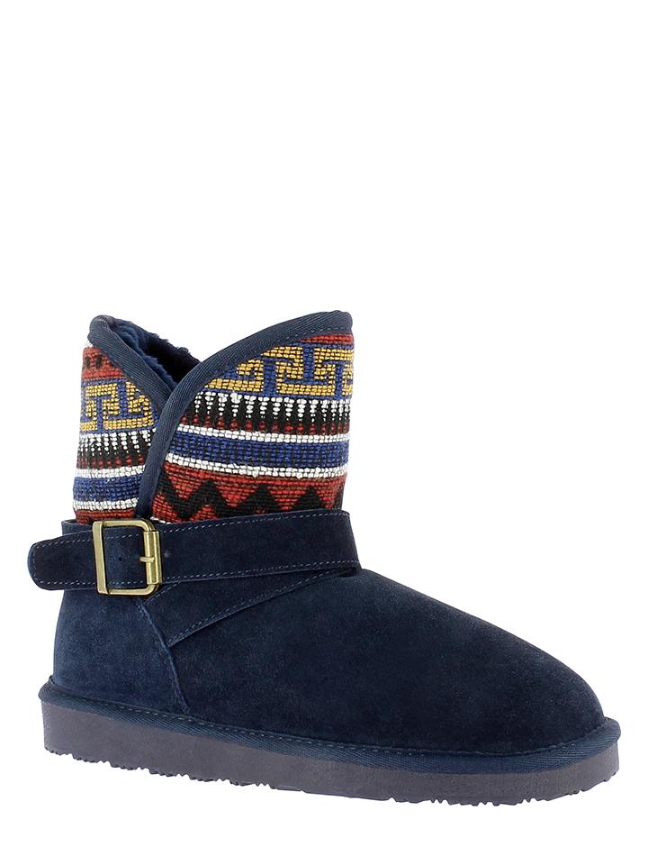 Minnetonka Leder-Boots in Dunkelblau - 37% | Größe 41 | Stiefeletten