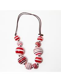 Lacoste Leder-Halskette in rot/ weiß