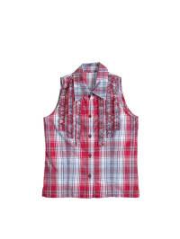 Topo Bluse in Rot/ Hellblau