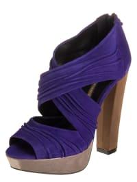 Buffalo Leder-Sandaletten in lila