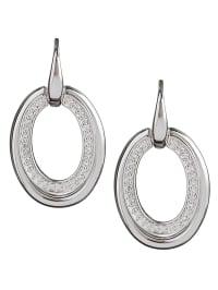 Fossil Silber-Ohrhänger mit Zirkonias