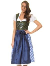 "Turi Landhaus Midi-Dirndl ""Elena"" in dunkelblau/ grün"