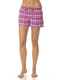 Skiny Pyjamashorts in Fuchsia/ Weiß