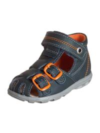 Richter Shoes Leder-Sandalen in Dunkelblau/ Orange