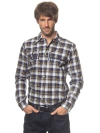 Luis Trenker Hemd in dunkelblau/ weiß