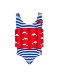 """Beverly Kids Badeanzug """"Costa de Sol"""" mit Schwimmhilfe in Blau/ Rot"""