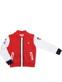 U.S. Polo Sweatjacke in rot/ weiß