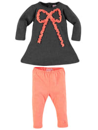 Lofff Outfit: Kleid und Leggings in Dunkelgrau/ Neonkoralle