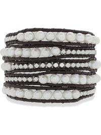 Lucie & Jade Leder-Armband in Braun/ Weiß