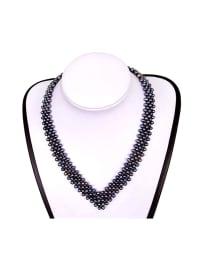Blue Pearls Perlen-Halskette in Schwarz - (L)42 cm