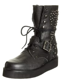 Buffalo Leder-Boots in Schwarz
