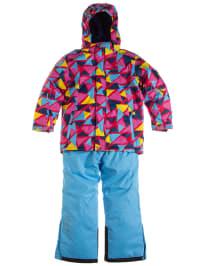 """Color Kids Skioutfit """"Glendale"""": Skijacke und Skihose in Hellblau/ Pink/ Bunt"""