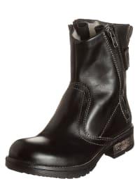 S. Oliver Leder-Boots in Schwarz