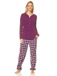 Seidensticker Pyjama in Lila/ Dunkelblau/ Weiß