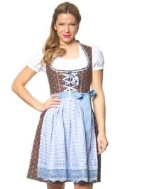 """Stockerpoint Mini-Dirndl """"Tori"""" in Braun/ Weiß/ Hellblau"""