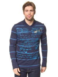 "Desigual Langarm-Poloshirt ""Why Camo"" in Dunkelblau"