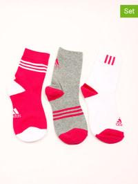 Adidas 3er-Set: Socken in Grau/ Pink/ Weiß