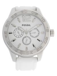 Fossil Quarzuhr in Weiß/ Silber
