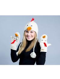 "Knitwits Woll-Handschuhe ""Casey The Chicken"" in Weiß"
