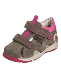 Indigo Leder-Sandalen in Hellbraun/ Pink