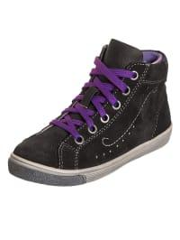 Indigo Leder-Sneakers in Schwarz/ Lila