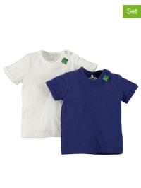 Green Cotton 2er-Set: Shirts in Weiß/ Dunkelblau