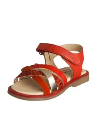 Billowy Leder-Sandalen in Rot/ Gold