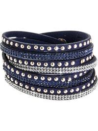 Destellos by Swarovski Elements Leder-Armband mit Swarovski-Kristallen in Dunkelblau