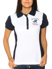 "Geographical Norway Poloshirt ""Kenza"" in Weiß/ Dunkelblau"