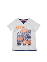 Emoi Shirt in Weiß/ Dunkelblau/ Orange