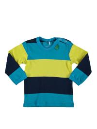 Green Cotton Longsleeve in Gelb/ Blau