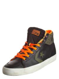 "Converse Leder-Sneakers ""Star Pickup MID"" in Schwarz/ Olivgrün/ Orange"