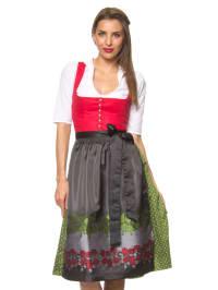"""Turi Landhaus Midi-Dirndl """"Elfie"""" in Rot/ Grün/ Schwarz"""
