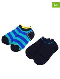 Ewers 2er-Set: Sneakersocken in Dunkelblau/ Hellblau/ Blau