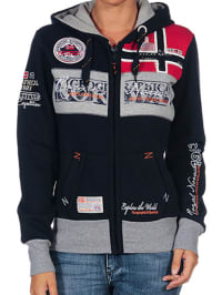 "Geographical Norway Sweatjacke ""Flyer"" in Dunkelblau/ Grau/ Rot"