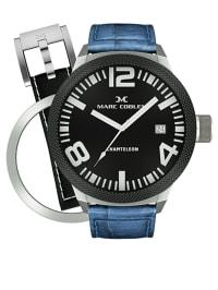 Marc Coblen Quarzuhr mit 1 Wechselband/ 1 Wechsellünette in Blau/ Silber/ Schwarz