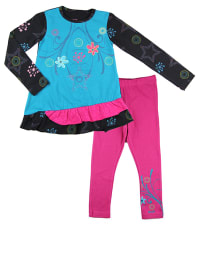 "What´s up Kids 2tlg. Outfit ""Fly Away"" in Hellblau/ Schwarz/ Pink"