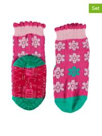 Sterntaler 2er-Set: Anti-Rutsch-Socken in Pink/ Rosa/ Grün