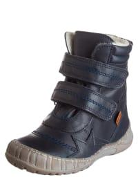POM POM Leder-Boots in Dunkelblau