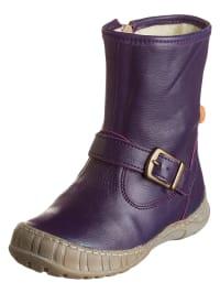 POM POM Leder-Boots in Lila
