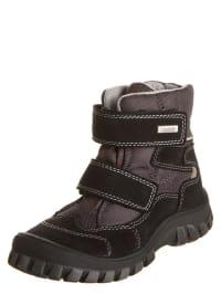 Richter Shoes Robuster Leder-Halbstiefel in schwarz/ grau